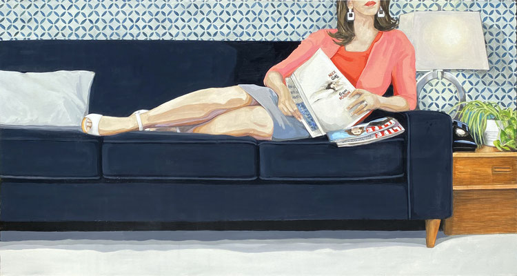 """Leslie Graff, """"On Her Mind (Nice Girl From Boston),"""" 2021, acrylic on canvas, 36 x 72 inches - SOLD"""