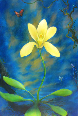 "Jorge Drosten, ""Nightscape with Orchid #1"" 2014, oil on canvas, 36 x 24 inches, $4,500"