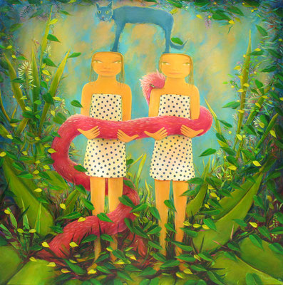 "Jorge Drosten, ""Romelia y Remilia,"" 2014, oil on canvas, 48 x 48 inches, $9,500"