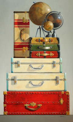 "Wendy Chidester, ""Globes & Cases,"" 2021, oil on canvas, 60 x 36 inches, $14,000"