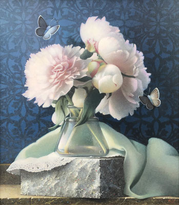 "Koo Schadler, ""Peonies, Green Cloth and Two Common Blues,"" egg tempera on true gesso and MDF panel, 13.5 x 12 x 1.5 inches framed SOLD"