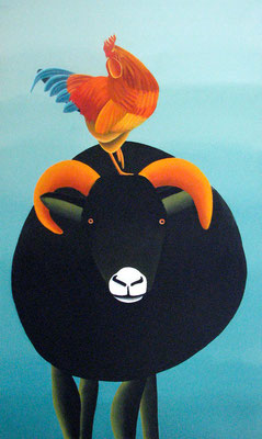 "Jain Tarnower, ""Black Icelandic Sheep and Rooster,"" oil on canvas on panel, 60 x 36 inches, SOLD"