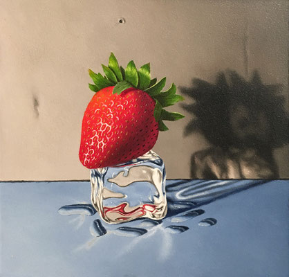 "Otto Duecker, ""Strawberry Skater 1,"" 2016, oil on panel, 6.5 x 6.5 inches, contact for price"