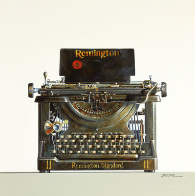 "Wendy Chidester, ""Remington Typewriter,"" 2021, oil on canvas, 24 x 24 inches, $4,600"