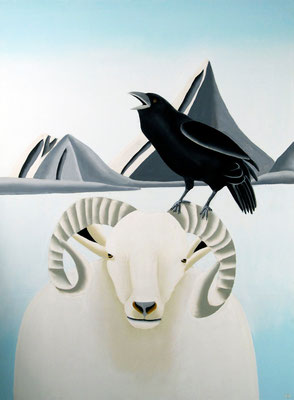 "Jain Tarnower, ""Raven on Wiltshire Sheep and Steller's Jay,"" oil on canvas on panel, 40 x 30 inches, SOLD"