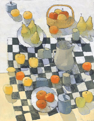 """Paul Balmer, """"Checkered Cloth,"""" 2019, oil on canvas, 40 x 30 inches, contact for price"""