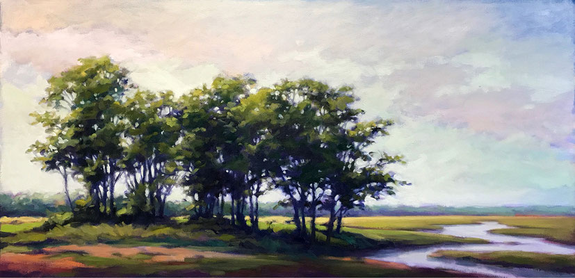 """Margaret Gerding, """"New England View,"""" 2017, oil on canvas, 24 x 48 inches, $6,500"""