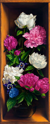 "Denise Mickilowski, ""June Peony Mix,"" 2016, oil on panel, 45 x 18 inches, $13,000"