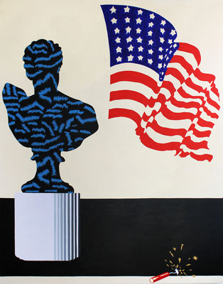 """Stephen D'Onofrio, """"Still Life with Bust and Flag,"""" 2017, oil on canvas, 66 x 52 inches"""