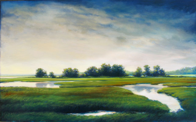 """Margaret Gerding, """"Soft Colors of Evening,"""" 2015, oil on panel, 36 x 60 inches, $10,000"""