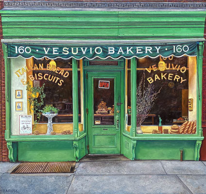 """Will Rafuse, """"Vesuvio Bakery"""" 2021, oil on canvas, 40 x 40 inches, $8,400"""