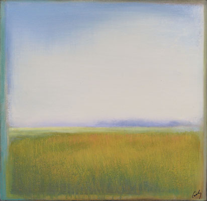 "Margaret Gerding, ""Marsh Grass,"" 2015, oil on panel, 16 x 16 inches, SOLD"