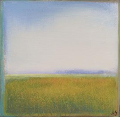"""Margaret Gerding, """"Marsh Grass,"""" 2015, oil on panel, 16 x 16 inches, SOLD"""