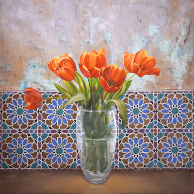 """Scott Duce, """"Azulejos Tulips,"""" 2020, oil on panel, 20 x 20 inches, $5,000"""