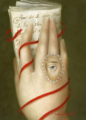"Fatima Ronquillo, ""Hand with Elizabeth Barrett Browning's Sonnet 43,"" 2017, oil on panel, 7 x 5 inches, SOLD"