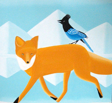 "Jain Tarnower, ""Red Fox and Steller's Jay,"" oil on canvas on panel, 28 x 26 inches, $4,000"