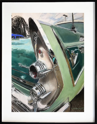 "Sheldon Berkowitz, ""Dodge 1956,"" pastel over watercolor on paper, 35 x 22.5 inches, $8,500  (framed size: 45 x 33 inches)"