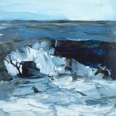 """Teri Malo, """"Winter Waves #7,"""" 2019, oil on paper, 7 x 7 inches (17 x 17 inches framed) - SOLD"""