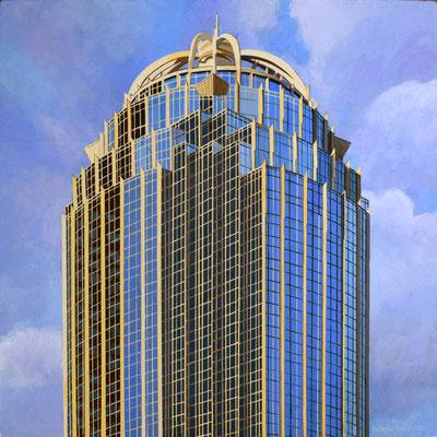 "Andrew Woodward, ""111 Huntington,"" 2021, acrylic on panel, 12 x 12 inches, $2,400"