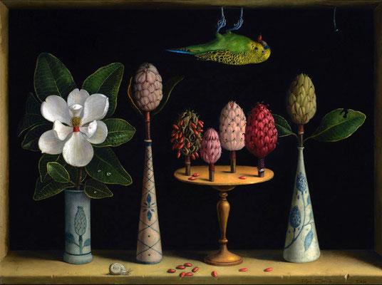 "Ilya Zomb, ""Magnolia Grandiflora from Bloom to Pods,"" 2016, oil on canvas, 17 x 23 inches, SOLD"