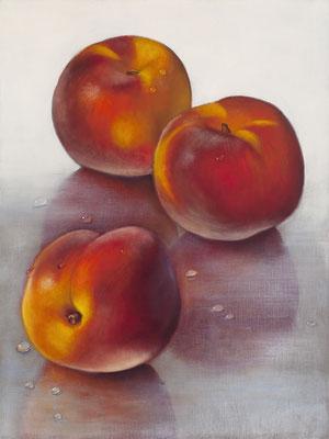 """Denise Mickilowski, """"Three Peaches,"""" 2017, oil on panel, 16 x 12 inches, $3,000"""