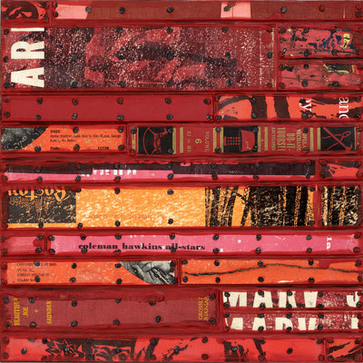 "Nancy Natale, ""Coleman Hawkins,"" mixed media on panel, 14 x 14 inches, SOLD"