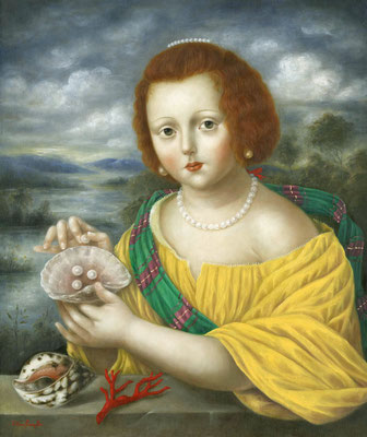 "Fatima Ronquillo, ""Girl with Pearls, Seashells, and Coral,"" 2016, oil on panel, 24 x 20 inches, SOLD"