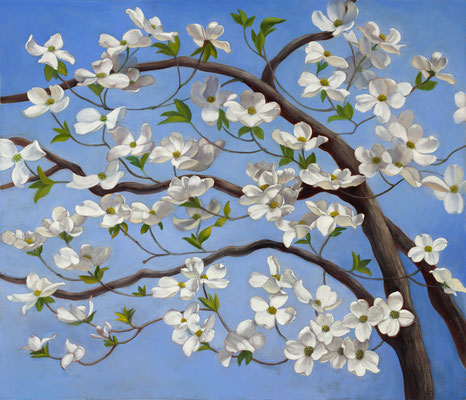 """Denise Mickilowski, """"Dogwood,"""" 2017, oil on canvas, 36 x 42 inches - SOLD"""