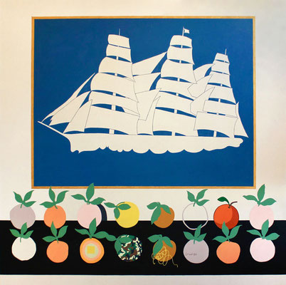 """Stephen D'Onofrio, """"Still Life with Oranges,"""" 2018, oil on canvas, 78 x 78 inches, $7,200"""