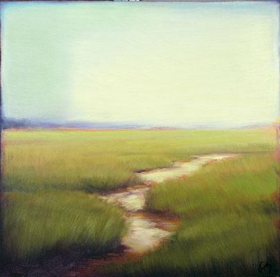 "Margaret Gerding, ""Ocean Mist III,"" 2016, oil on panel, 16 x 16 inches, $2,500"