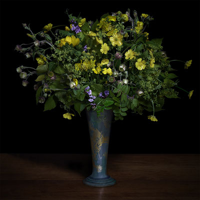 "T.M. Glass, ""Buttercups and Other Wilds Flowers in a Japanese Vase,"" 2020, archival pigment print on hand-made Italian rag paper, Available in: 42 x 42""; 52 x 52""; 58 x 58"", contact for price"