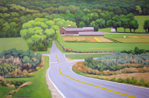 "Michael Filmus, ""The Flower Farm on Rud Pond Road,"" 2017, oil on canvas, 24 x 36 inches, $8,500"