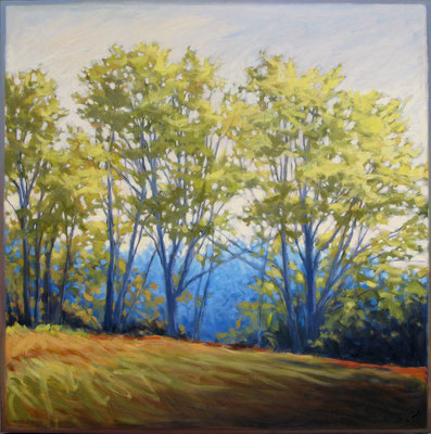 "Margaret Gerding, ""Off Road to Little Neck,"" 2015, oil on panel, 36 x 36 inches, $6,000"