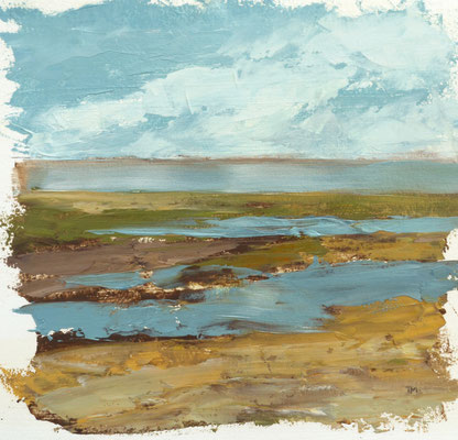 "Teri Malo, ""Watching the Tide Go Out #2,"" 2019, oil on paper, 7 x 7 inches, $1,450"