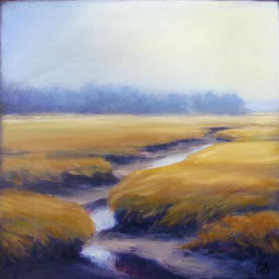 """Margaret Gerding, """"Ocean Mist IV,"""" 2016, oil on panel, 16 x 16 inches, $2,500"""