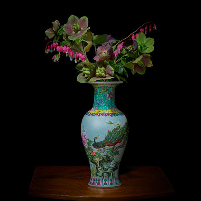 """T.M. Glass, """"Hellebores and Bleeding Hearts in a Chinese Vessel,"""" 2020, archival pigment print on hand-made Italian rag paper, 42 x 42 inches (also available in 30 x 30""""; 52 x 52""""; 58 x 58""""), contact for price"""