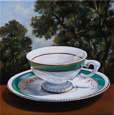 """Sherrie Wolf, """"Teacup 4,"""" 2019, oil on linen, 12 x 12 inches, SOLD"""