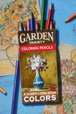 "Ben Steele, ""Garden Variety Pencils,"" 2020, oil on canvas, 45 x 30 inches, $8,600"
