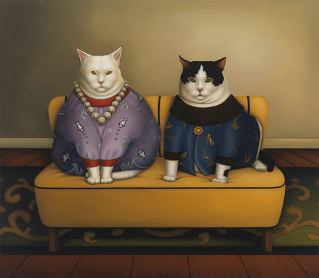 "Deborah Van Auten, ""Aristocats,"" 2013, oil on linen, 28 x 32 inches, $15,000"