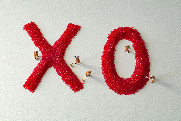 """Christopher Boffoli, """"XO,"""" acrylic-dibond mounted photograph, 24 x 36 inches, (also available: 12 x 18, 32 x 48, 48 x 72)"""