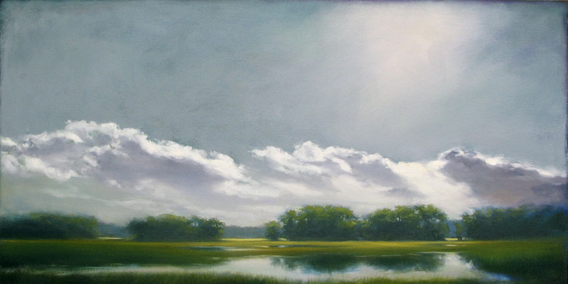 """Margaret Gerding, """"Light from Above,"""" 2018, oil on canvas, 24 x 48 inches, SOLD"""