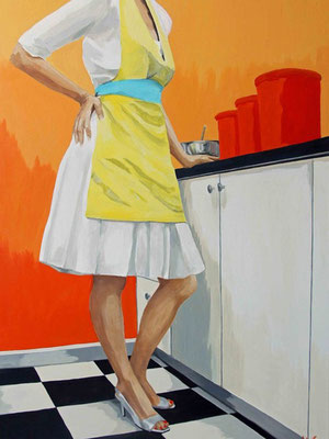 """Leslie Graff, """"About to Mix Things Up,"""" 2020, acrylic on canvas, 40 x 30 inches, $6,000"""