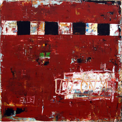 """Bill Fisher, """"Untitled #12 (red),"""" 2013, oil and cold wax on panel, 36 x 36 inches, $7,500"""