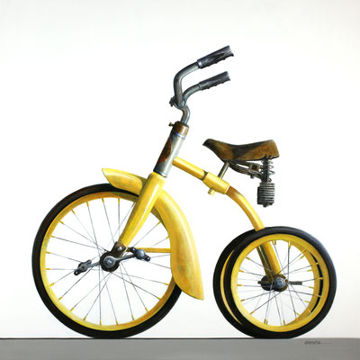 """Wendy Chidester, """"Yellow Trike,"""" 2021, oil on canvas, 40 x 40 inches, SOLD"""