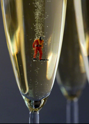 """Christopher Boffoli, """"Champagne Scuba,"""" acrylic-dibond mounted photograph, 36 x 24 inches (also available: 18 x 12, 48 x 32)"""