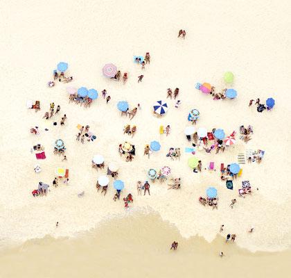 "Joshua Jensen-Nagle, ""Sunbathers of Copacabana III,"" archival inkjet print face-mounted to Plexiglass, 41 x 43"" (also available: 30 x 31.5, 55 x 58, 70 x 73)"