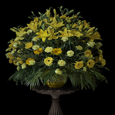 "T.M. Glass, ""Jaipur Wedding Bouquet with Lilies Marigolds and Carnations,"" 2020, archival pigment print on hand-made Italian rag paper, Available in: 42 x 42""; 52 x 52""; 58 x 58"", contact for price"
