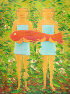"Jorge Drosten, ""Lucia y Alicia,"" 2014, oil on canvas, 40 x 30 inches, SOLD"