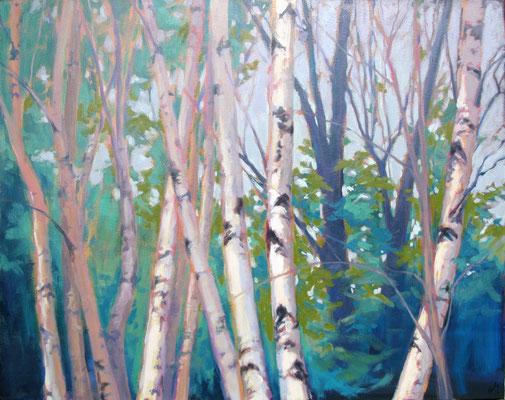 "Margaret Gerding, ""Pink Burst,"" 2018, oil on canvas, 40 x 48 inches, $9,000"