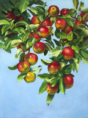 """Denise Mickilowski, """"Orchard McIntosh,"""" 2017, oil on panel, 40 x 30 inches, $8,000"""
